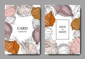 Summer beach seashell tropical elements. Engraved ink art. Wedding background card decorative border.