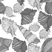 Sommer Strand Muschel tropischen Elementen. Schwarz-weiß gestochene Tuschekunst. nahtloses Hintergrundmuster.