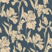 Fotografie Iris florale botanische Blumen. Schwarz-weiß gestochene Tuschekunst. nahtloses Hintergrundmuster.