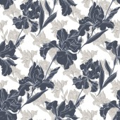 Iris floral botanical flowers. Black and white engraved ink art. Seamless background pattern.