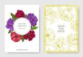 Květinové botanické květiny. Ryté inkoustové kresby. Blahopřání k sňatku-ozdobný okraj.
