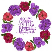 Peony floral botanical flowers. Wild spring leaf wildflower. Engraved ink art. Frame border ornament square.
