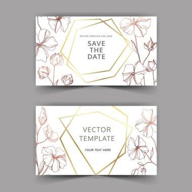 Vector Flax botanical flowers. Black and white engraved ink art. Wedding background card floral decorative border. Thank you, rsvp, invitation elegant card illustration graphic set banner. clip art vector