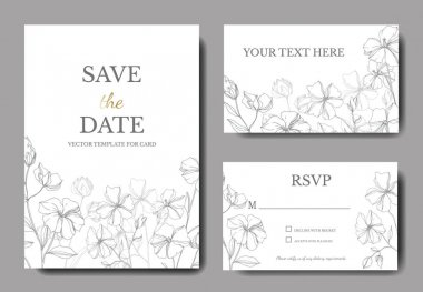Vector Flax botanical flowers. Black and white engraved ink art. Wedding background card floral decorative border. Thank you, rsvp, invitation elegant card illustration graphic set banner. clip art vector