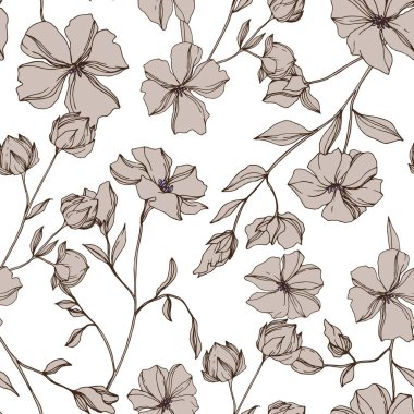 Vector Flax floral botanical flowers. Gray engraved ink art. Seamless background pattern.