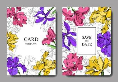 Iris floral botanical flowers. Black and white engraved ink art. Wedding background card floral decorative border. Thank you, rsvp, invitation elegant card illustration graphic set banner. clip art vector