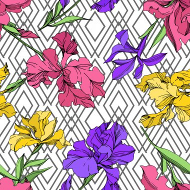 Iris floral botanical flowers. Wild spring leaf wildflower isolated. Black and white engraved ink art. Seamless background pattern. Fabric wallpaper print texture. clip art vector