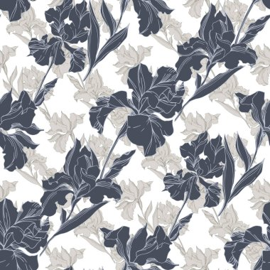 Iris floral botanical flowers. Wild spring leaf wildflower isolated. Black and white engraved ink art. Seamless background pattern. Fabric wallpaper print texture. stock vector