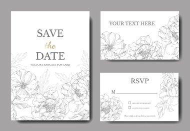 Peony floral botanical flowers. Engraved ink art. Wedding background card floral decorative border. Thank you, rsvp, invitation elegant card illustration graphic set banner. stock vector