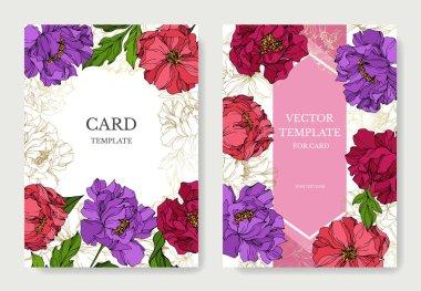 Peony floral botanical flowers. Engraved ink art. Wedding background card floral decorative border. Thank you, rsvp, invitation elegant card illustration graphic set banner. clip art vector
