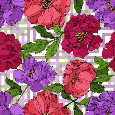Peony floral botanical flowers. Wild spring leaf wildflower isolated. Black and white engraved ink art. Seamless background pattern. Fabric wallpaper print texture. clip art vector