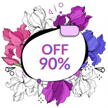 Vector Sale tags set. Discount price offer. Engraved ink art. Isolated percent sticker illustration element.