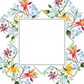 Ornament květinové botanické květin. Divoký jarní listové wildflower izolován. Sada akvarel pozadí obrázku. Akvarel, samostatný výkresu módní aquarelle. Frame hranice ozdoba náměstí.