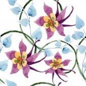 Fotografie Ornament floral botanische Blume. Aquarell Hintergrund Illustration-Set. Aquarell Zeichnung Mode Aquarell isoliert. Nahtlose Hintergrundmuster. Stoff Tapete drucken.