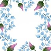 Fotografie Blumenschmuck botanische Blume. wildes Frühlingsblatt Wildblume isoliert. Aquarell Hintergrundillustration Set. Aquarellzeichnung Modeaquarell isoliert. Rahmen Rand Ornament Quadrat.