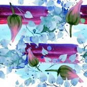 Fotografie Ornament květinové botanické květin. Sada akvarel pozadí obrázku. Akvarel, samostatný výkresu módní aquarelle. Vzor bezešvé pozadí. Fabric tapety tisku textura.
