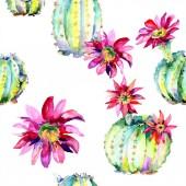 Zöld kaktusz. Virágos botanikus virág. Vad tavaszi levél vadvirág elszigetelt. Folytonos háttérmintázat.