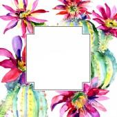 Zelené kaktusy. Květinové botanické květy. Orámovaná hranatá hranice Akvarel – sada ilustrace.