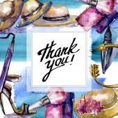 Kosmetik Skizze Mode Glamour Illustration. Kleidung Accessoires Set trendige Outfit. Aquarell-Hintergrund-Illustration-Set. Aquarell Zeichnung Mode Aquarell. Rahmen Rahmen Ornament Quadrat.