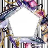 Photo Cosmetics sketch fashion glamour illustration. Clothes accessories set trendy outfit. Watercolor background illustration set. Watercolour drawing fashion aquarelle. Frame border ornament square.