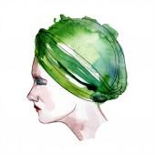 Hut skizziert Mode Glamour Illustration in einem Aquarell-Stil. Kleidung Accessoires setzen trendiges Outfit. Aquarell Mode Skizze für Hintergrund. Aquarell Zeichnung Aquarell isoliert.