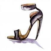 Cipő vázlat divat Glamour illusztráció. Ruhák kiegészítők meg trendi ruhában. Akvarell háttér meg. Akvarell rajz divat Aquarelle. Egyedi cipő illusztrációs elem.