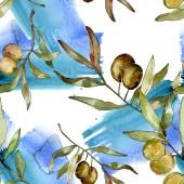 Zöld olajbogyó akvarell illusztráció. Akvarell zöld levél varrat nélküli háttér-mintázat. Szövet tapéta nyomtatási textúra