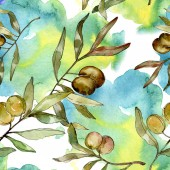 Fotografie Grüne Oliven Aquarell-Illustration. Aquarell grün Blatt nahtlose Hintergrundmuster. Stoff Tapete Druck Textur