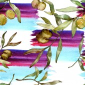Illustrazione del acquerello delle olive verdi. Acquerello verde foglia modello di sfondo senza soluzione di continuità. Tessuto carta da parati stampa texture
