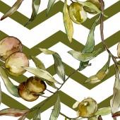 grüne Oliven Aquarell Illustration. Aquarell grünes Blatt nahtloses Hintergrundmuster. Stoff Tapete drucken Textur