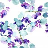 Csokor virágos botanikus virágok. Akvarell háttér illusztráció meg. Akvarell rajz divat Aquarelle elszigetelt. Folytonos háttérmintázat. Szövet tapéta nyomtatási textúra.