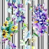 Květinové botanické květiny. Vodný obrázek pozadí-barevný. Akvarel na kreslicím módu Aquarelle. Bezespání vzorek pozadí. Textura pro tisk tapety.