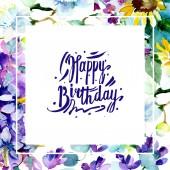 Květinové botanické květiny. Vodný obrázek pozadí-barevný. Akvarel na kreslicím módu Aquarelle. Orámovaná hranatá hranice Šťastné narozeniny rukopis monogram kaligrafie.