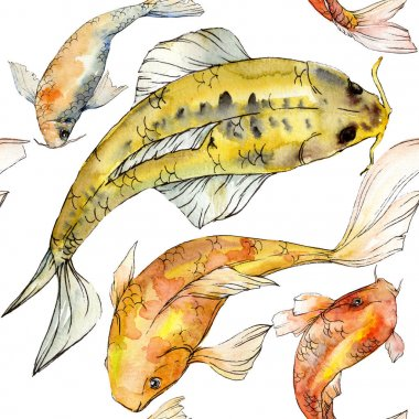 Watercolor aquatic underwater colorful tropical fish set. Red sea and exotic fishes inside: Golden fish.