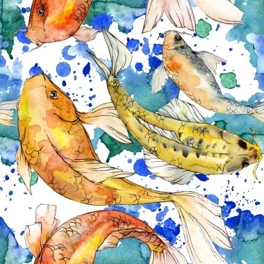 Watercolor aquatic underwater colorful tropical fish set. Red sea and exotic fishes inside: Golden fish. Aquarelle elements for background, texture, wrapper pattern. stock vector