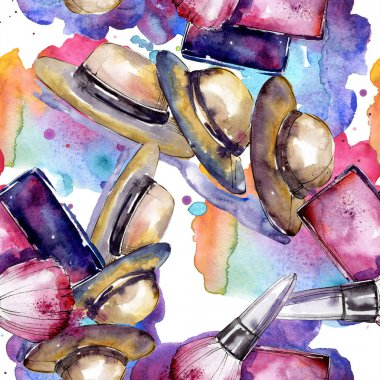 Clothes accessories and cosmetics set trendy outfit. Watercolor background illustration set. Watercolour drawing fashion aquarelle. Seamless background pattern. Fabric wallpaper print texture. stock vector