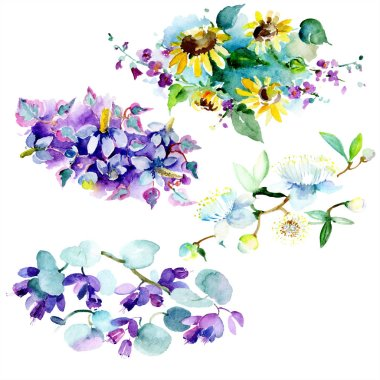 Bouquet floral botanical flower. Wild spring leaf wildflower isolated. Watercolor background illustration set. Watercolour drawing fashion aquarelle isolated. Isolated bouquet illustration element. stock vector