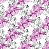 Vektor rózsaszín és kék orchidea virág. Gravírozott tinta művészet. Folytonos háttérmintázat. Szövet tapéta nyomtatási textúra.