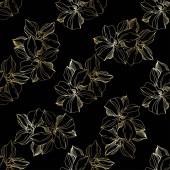 Botanická květina ze vektorové orchidety. Ryté inkoustové kresby. Bezespání vzorek pozadí. Textura pro tisk tapety.