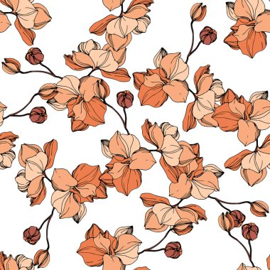 Vector Orange orchid. Floral botanical flower. Wild spring leaf wildflower isolated. Engraved ink art. Seamless background pattern. Fabric wallpaper print texture. clip art vector
