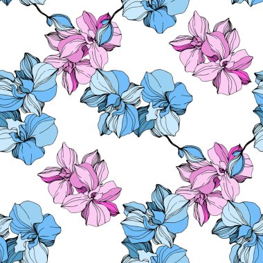Vector Pink and blue orchid. Floral botanical flower. Wild spring leaf wildflower isolated. Engraved ink art. Seamless background pattern. Fabric wallpaper print texture. clip art vector