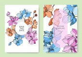 Květinová vektorová Orchida. Ryté inkoustové kresby. Okraj svatební karty. Děkujeme vám, RSVP, Pozvánka.