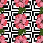 Vector Pink pünkösdi rózsa virág. Gravírozott tinta művészet. Folytonos háttérmintázat. Szövet tapéta nyomtatási textúra.