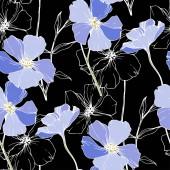 Lněná Botanická květina vektorová modrá. Ryté inkoustové kresby. Bezespání vzorek pozadí. Textura pro tisk tapety.