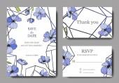 Vector esküvői meghívók sablonokat len illusztráció.