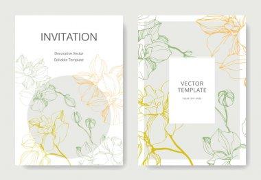 Vector Orchid flower. Engraved ink art. Wedding background card border. Thank you, rsvp, invitation illustration.