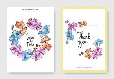 Vector Pink, orange and blue orchid flower. Engraved ink art. Wedding background card floral decorative border. Thank you, rsvp, invitation elegant card illustration graphic set banner. stock vector