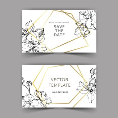 Vector Orchid flower. Black and white engraved ink art. Wedding background card floral decorative border. Thank you, rsvp, invitation elegant card illustration graphic set banner. stock vector