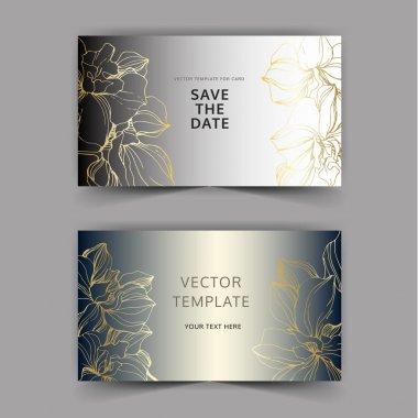Vector Golden orchid flower. Wild spring leaf wildflower. Engraved ink art. Wedding background card floral decorative border. Thank you, rsvp, invitation elegant card illustration graphic set banner. clip art vector