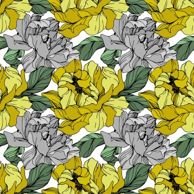 Vector Grey and yellow peony. Floral botanical flower. Wild spring leaf wildflower isolated. Engraved ink art. Seamless background pattern. Fabric wallpaper print texture. clip art vector